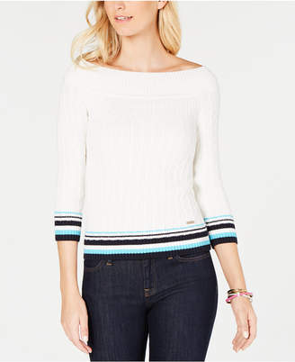 Tommy Hilfiger Cotton Off-The-Shoulder Cable-Knit Sweater