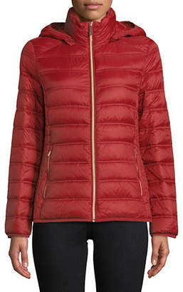 MICHAEL Michael Kors 25' Short Packable Burnt Red Jacket