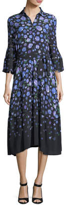 Lela Rose Floral-Print Tie-Waist Shirtdress