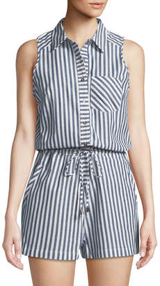 Dex Striped Cotton Shirting Romper