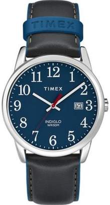 Timex Men's Easy Reader Gray/Blue Watch, Leather Strap
