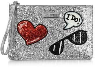 Love Moschino Sparkling Metallic Silver Clutch