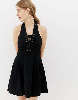 Qed London QED London skater dress with lace up front