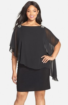 Plus Size Women's Xscape Embellished Chiffon Overlay Jersey Dress $178 thestylecure.com