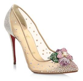 Christian Louboutin Feerica 100 Strass & Mesh Pumps