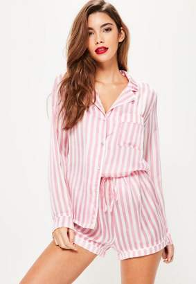 Missguided Pink Striped Pajama Set