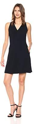 T Tahari Women's Annalise Sleeveless V-Neck Stretch Crepe Dress