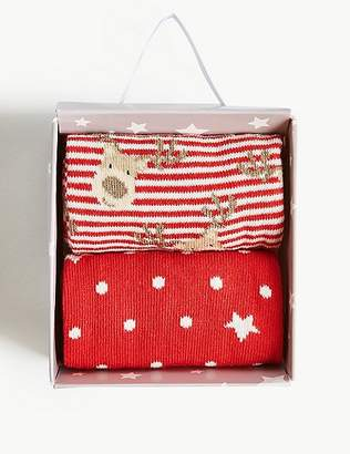 Marks and Spencer 2 Pair Pack Reindeer Ankle High Socks