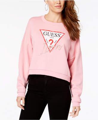 GUESS Iconic Sweety Rhinestone Cotton Fleece Sweatshirt