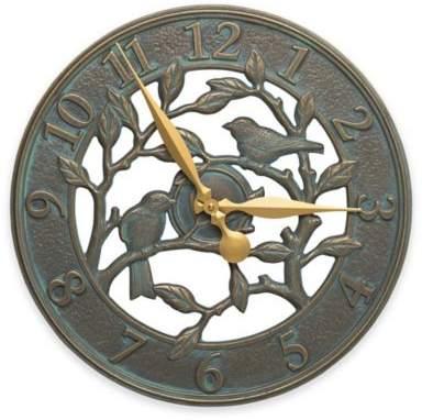 Whitehall Products Woodridge 16-Inch Indoor/Outdoor Wall Clock in Bronze Verdigris
