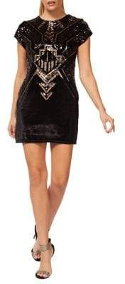 Dex Sequined Velvet Sheath Dress