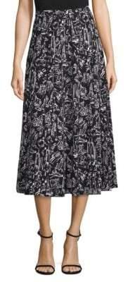 Lafayette 148 New York Adalia Graphic Silk Midi Skirt