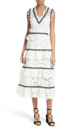 Women's Self-Portrait Tiered Lace Midi Dress $615 thestylecure.com