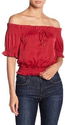 Romeo & Juliet Couture Ruffle Trimmed Off Shoulder Top