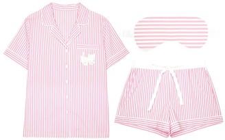 Pink Label Graciela Striped Short Pajama Set