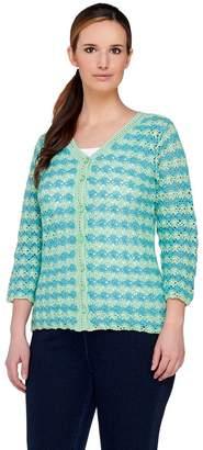 Liz Claiborne New York Bi-Color Crochet Cardigan