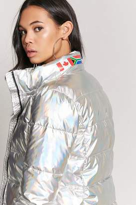 Forever 21 Metallic Flag Graphic Puffer Jacket