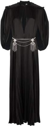 Gucci cape sleeve open front crystal-embellished belted gown