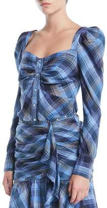 Veronica Beard Frankie Plaid Puff-Sleeve Button-Front Top