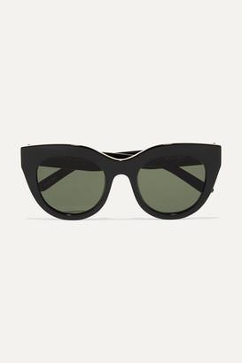 Le Specs Air Heart Cat-eye Acetate And Gold-tone Sunglasses - Black