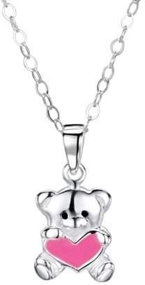 Jo for Girls Jo Teddy Pink Heart Sterling Silver Pendant