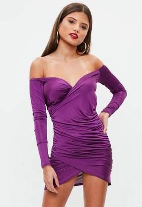 Missguided Purple Slinky Bodycon Dress