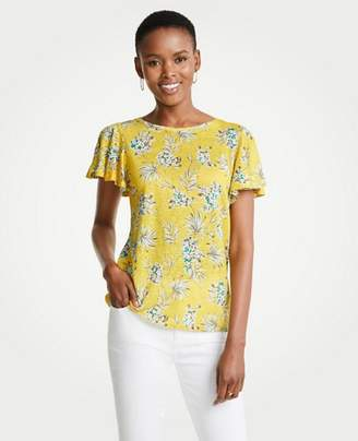 Ann Taylor The Tropical Floral Flutter Linen Tee