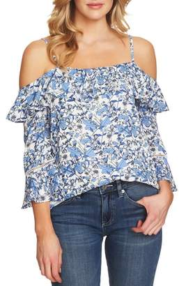 CeCe Ivy Print Cold Shoulder Blouse