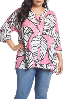 Nic+Zoe Etched Leaves Top