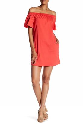 A. Byer Poplin Off-the-Shoulder Shift Dress (Junior) $59 thestylecure.com