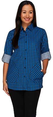 Joan Rivers Classics Collection Joan Rivers Houndstooth Boyfriend Shirt w/ Long Sleeves