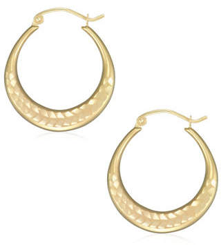 Tag Heuer FINE JEWELLERY 14K Yellow Gold Diamond-Cut Hoop Earrings