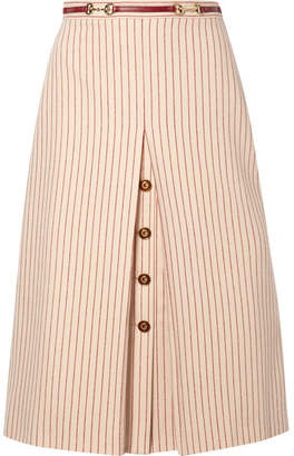 Gucci Leather-trimmed Paneled Pinstriped Wool Midi Skirt - Ivory
