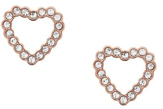 Fossil Open Heart Rose Gold-Tone Stainless Steel Earrings jewelry ROSE GOLD