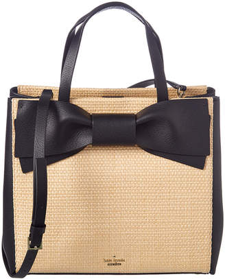 Kate Spade Olive Drive Straw Brigette Leather Satchel