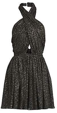 Saint Laurent Women's Crisscross Lurex Mini Dress