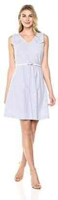 Lark & Ro Women's Shoulder Tie Striped Chambray Dress