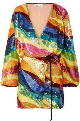 ATTICO Sequined Tulle Wrap Mini Dress - Yellow