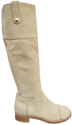 Louis Vuitton Beige Suede Boots