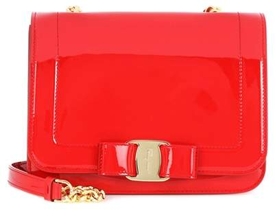 Salvatore Ferragamo Small Vara Rainbow patent leather shoulder bag