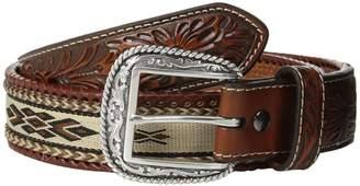 Ariat Embossed Tab Ribbon Inlay Belt Men's Belts