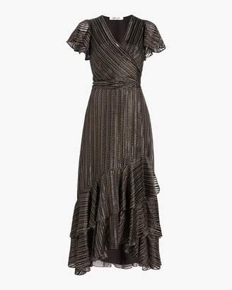 Diane von Furstenberg Donnie Silk Metallic Faux Wrap Gown