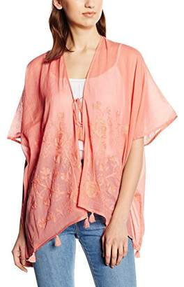 Esprit edc by Women's 056CA1Q011 - Hippie-Look Poncho Rot (Coral RED 640), S