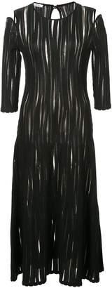 Oscar de la Renta cold-shoulder sheer plissé dress