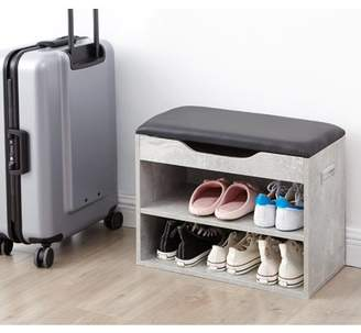 DormCo Yak About It Compact Shoe Rack Bench with Top Cushion - Marble Gray