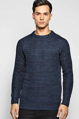 boohoo Heavy Knit Mixed Yarn Crew Neck Jumper