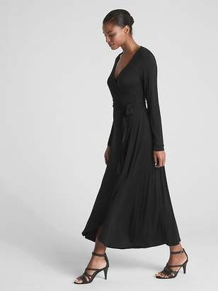 724b0416e1b Gap Long Sleeve Knit Wrap Midi Dress