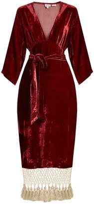 RHODE RESORT Leonard tassel-hem velvet dress
