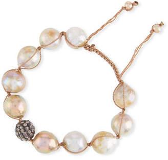 Margo Morrison Adjustable Baroque Pearl & Crystal Toggle Bracelet