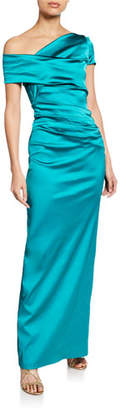 Talbot Runhof Moa Asymmetric One-Shoulder Evening Gown, Champagne
